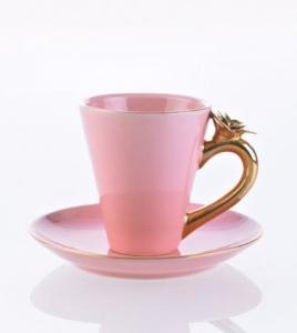Rosa kaffekopp med guldros och fat - Kerstin Tillberg