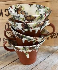 Kottekopp, tekopp med kottar och lingonris - Anna Keramik
