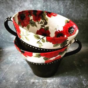 Tekopp med vallmo (Kontinental) - Anna Keramik