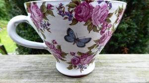 Tekopp Rosenälva Blå Blom - Anna Keramik
