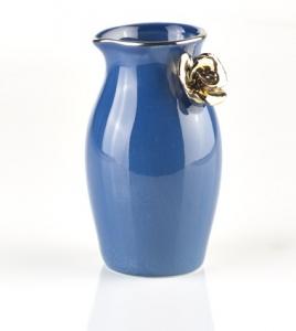 Mörkblå mjölkkanna med guldros - Kerstin Tillberg