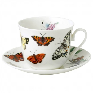 Tekopp med fat Butterfly Garden - Roy Kirkham