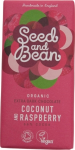 Seed and Bean Extra Dark Chocolate with Coconut and Raspberry
