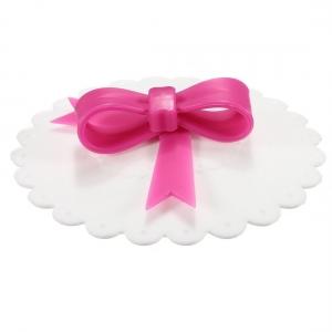 Tekoppslock vitt med rosa rosett