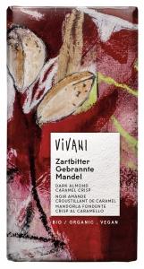 Vivani Mörk Choklad med Brända Mandlar och Karamell - 80 g