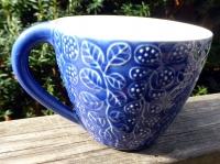 Tekopp Four Leaves Blå - Ulrika Ahlsten Keramik