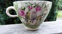 Tekopp Gröna Undulater med Rosor - Anna Keramik