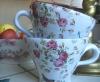 Tekopp med röda rosor - Anna Keramik