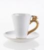 Vit kaffekopp med guldros och fat - Kerstin Tillberg