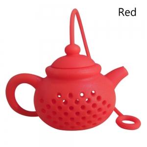 Tekanneformad tesil i silikon - röd
