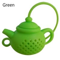 Tekanneformad tesil i silikon - grön